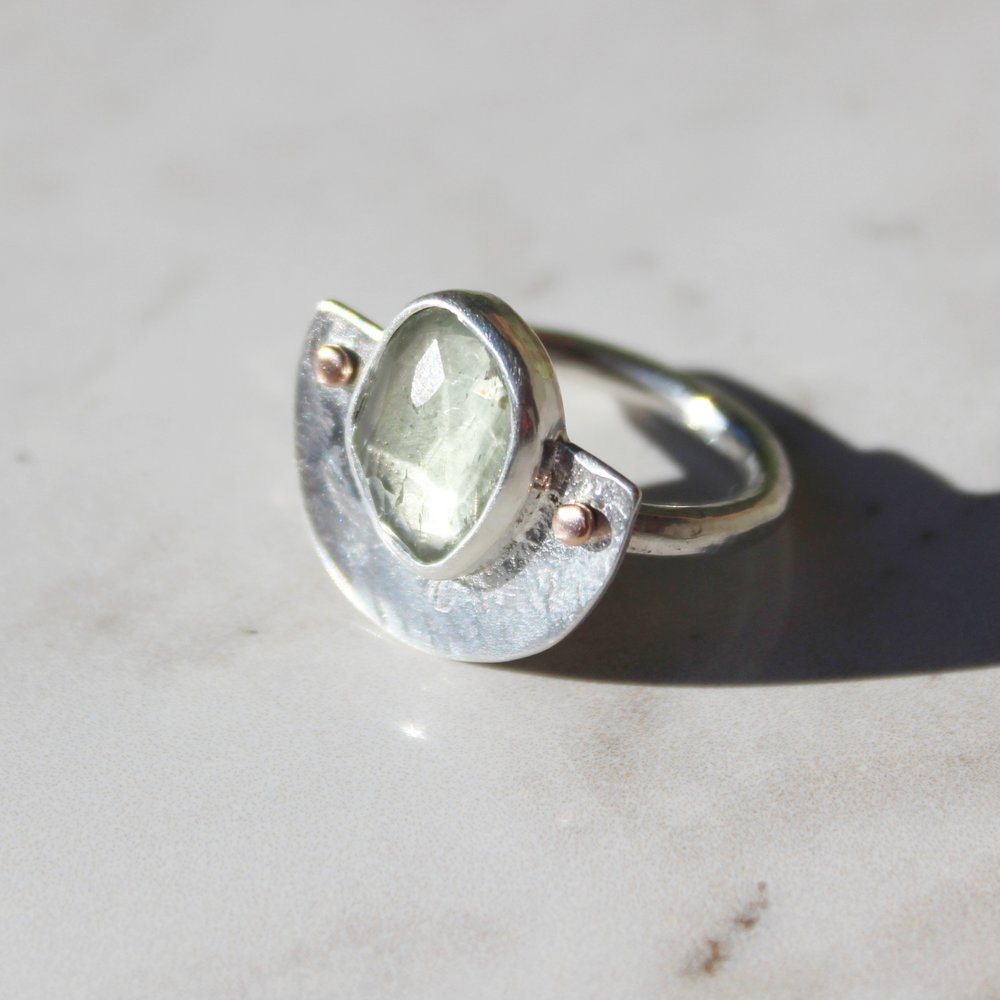 green amethyst shield ring