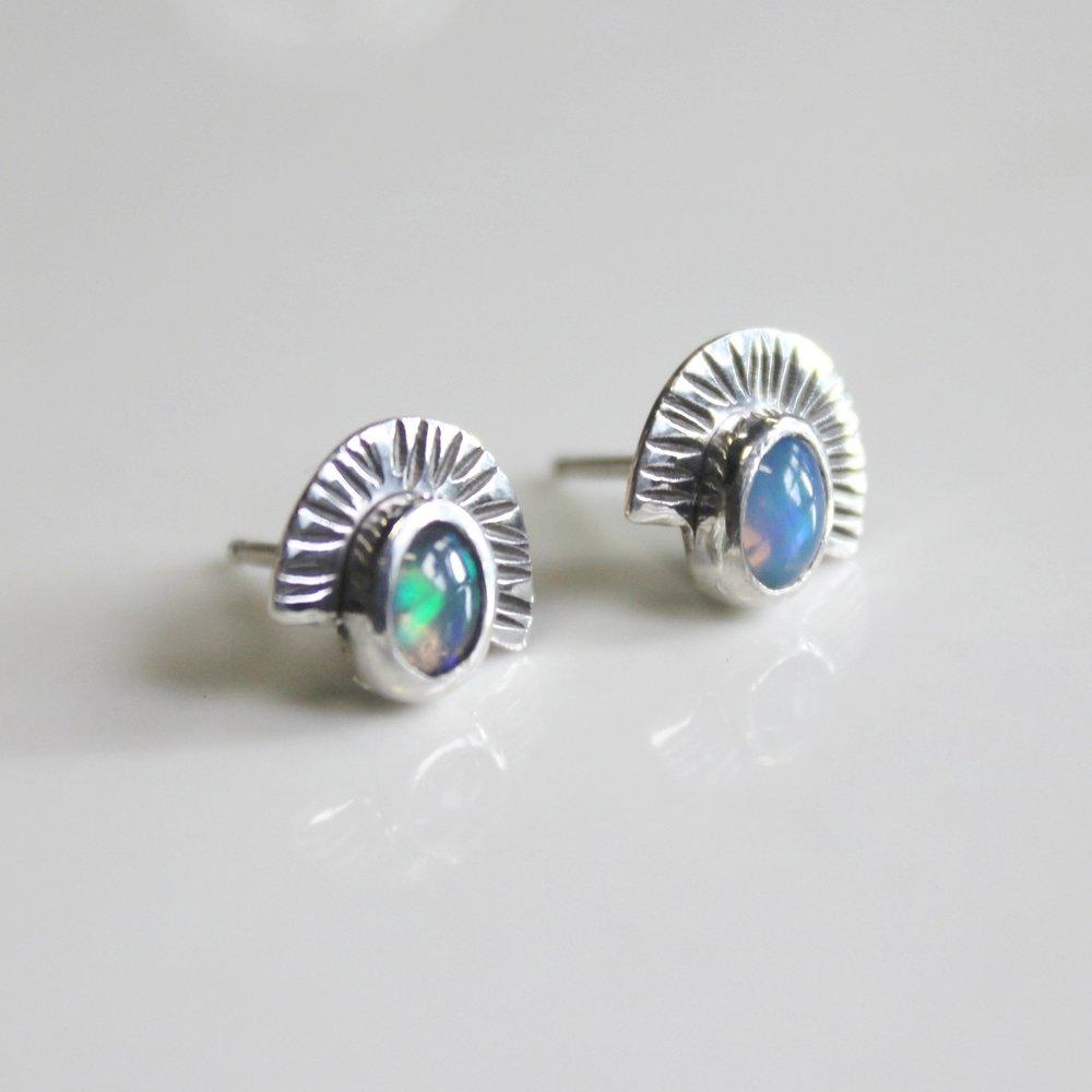 opal fan studs