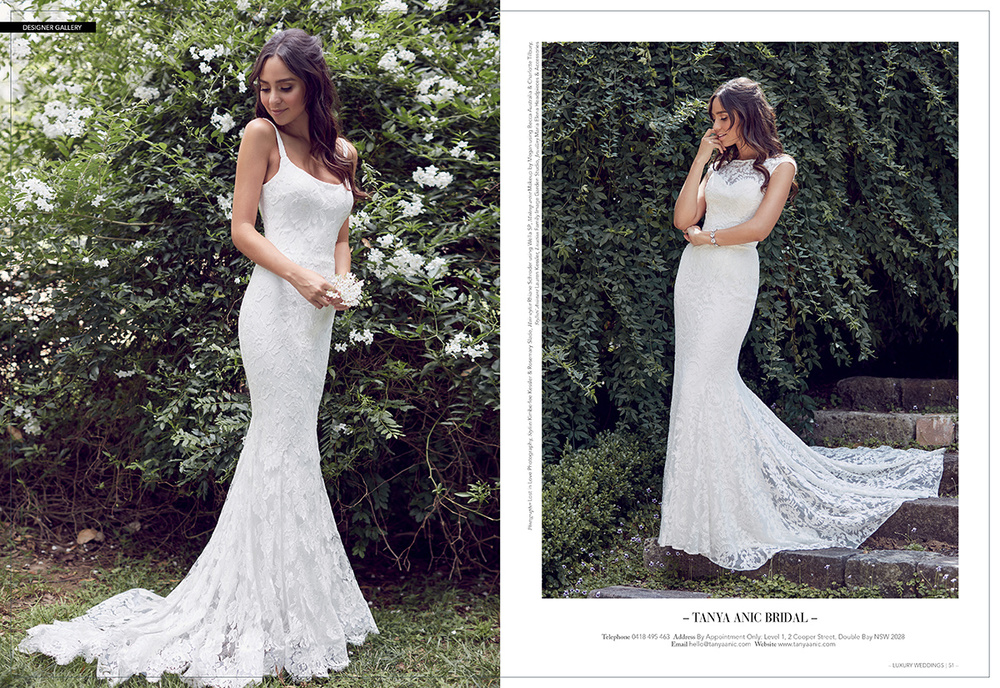 L Summer Bridal Gown R Melody Bridal Gown by Tanya Anic as seen in Luxury Weddings Magazine
