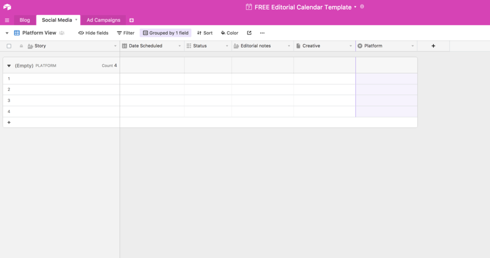 how to use airtable to plan your social media editorial calendar