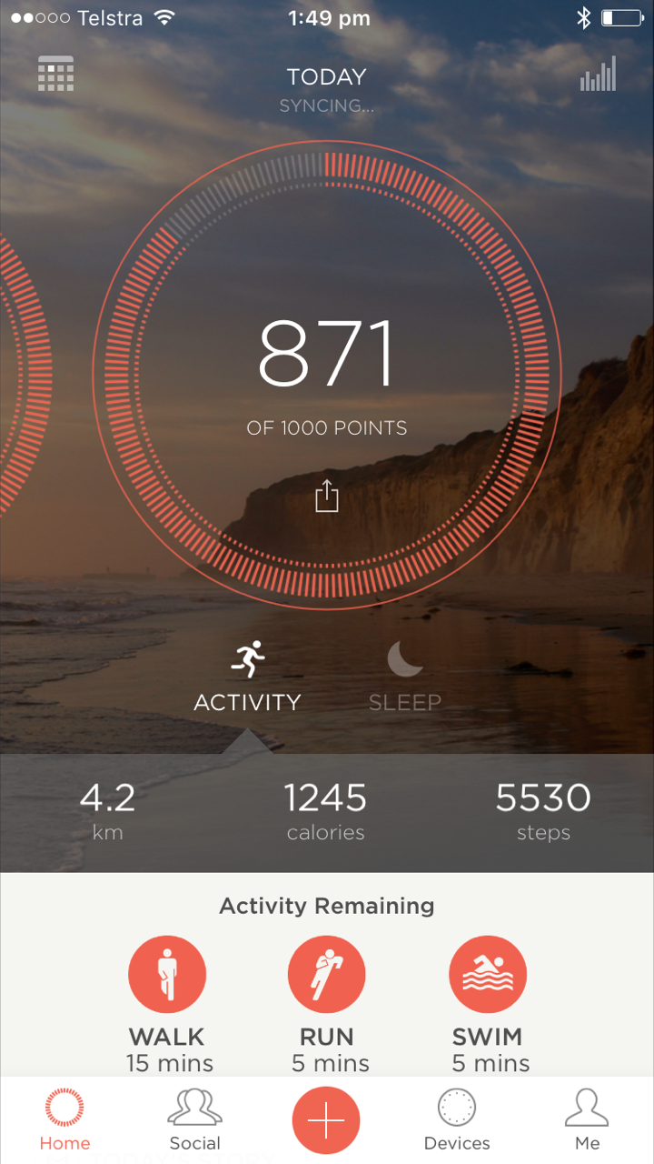 Misfit app: Gotta complete that circle! Nothing like a visual of your goal to keep you on track.