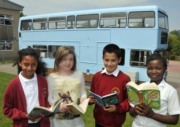 The completed bus and happy pupils of Ebor Gardens Primary School.