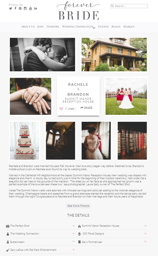 Summit Manor Reception House Wedding - St. Paul MN - Featured Real Wedding - Perfect Shot - Wedding Photography