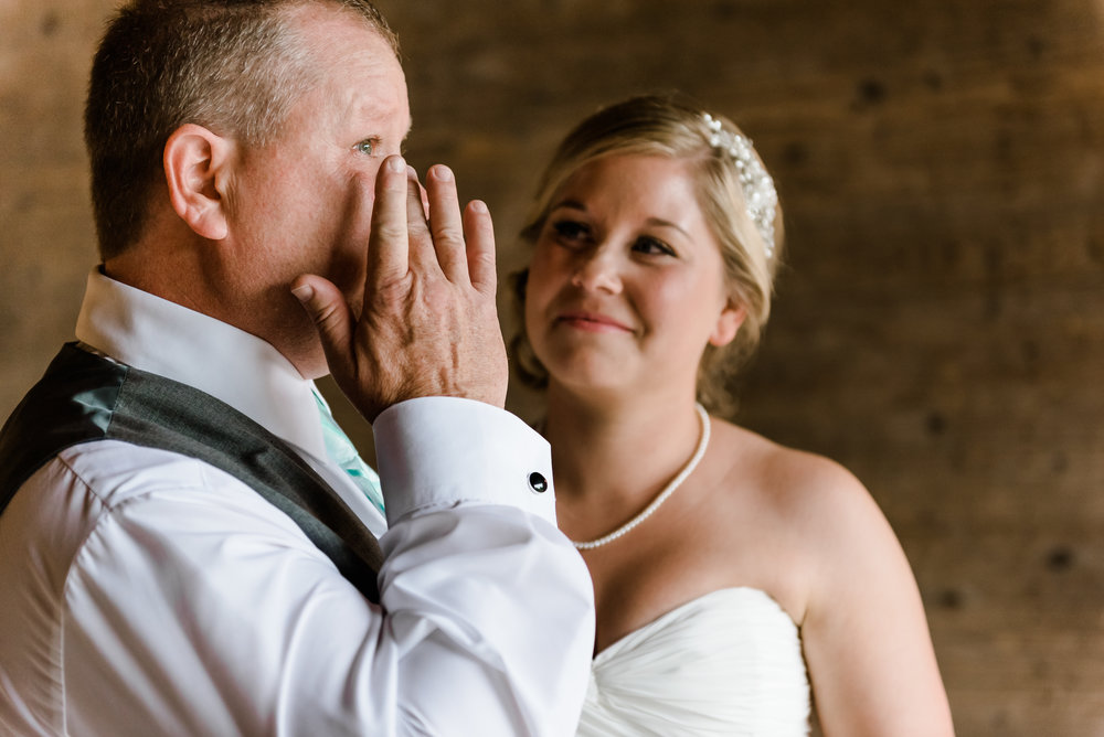 Emotional Father of the Bride at Bloom Lake Barn - Shafer, MN Wedding Photography by Laura Robinson Photography