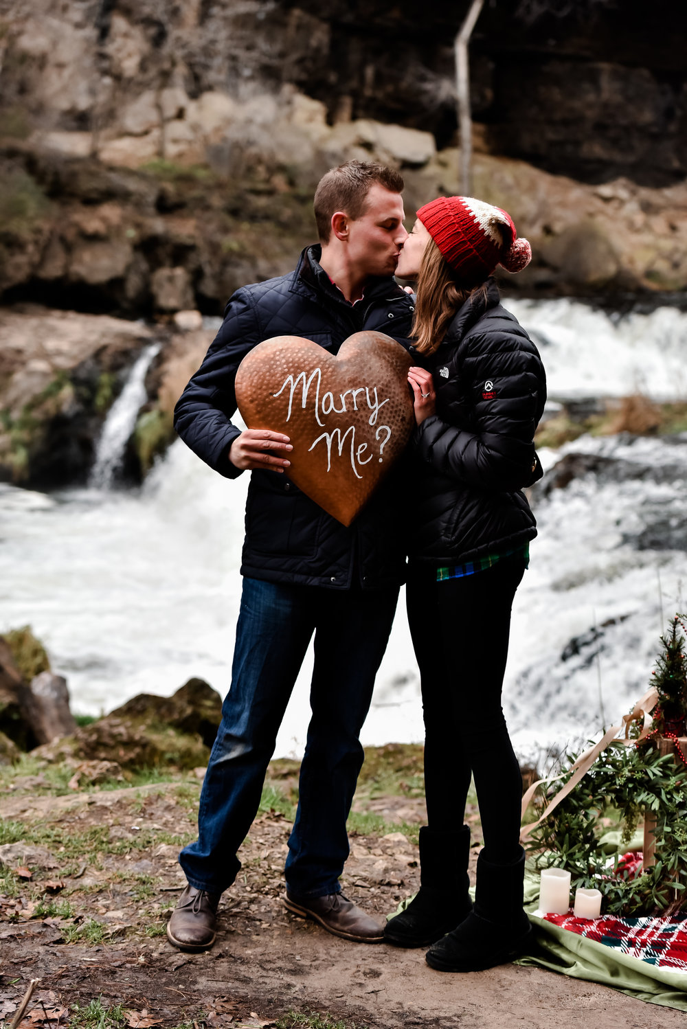 Christmas Proposal Inspiration at Waterfall - Willow River State Park Falls in Hudson, Wisconsin - Twin Cities Proposal Photographer