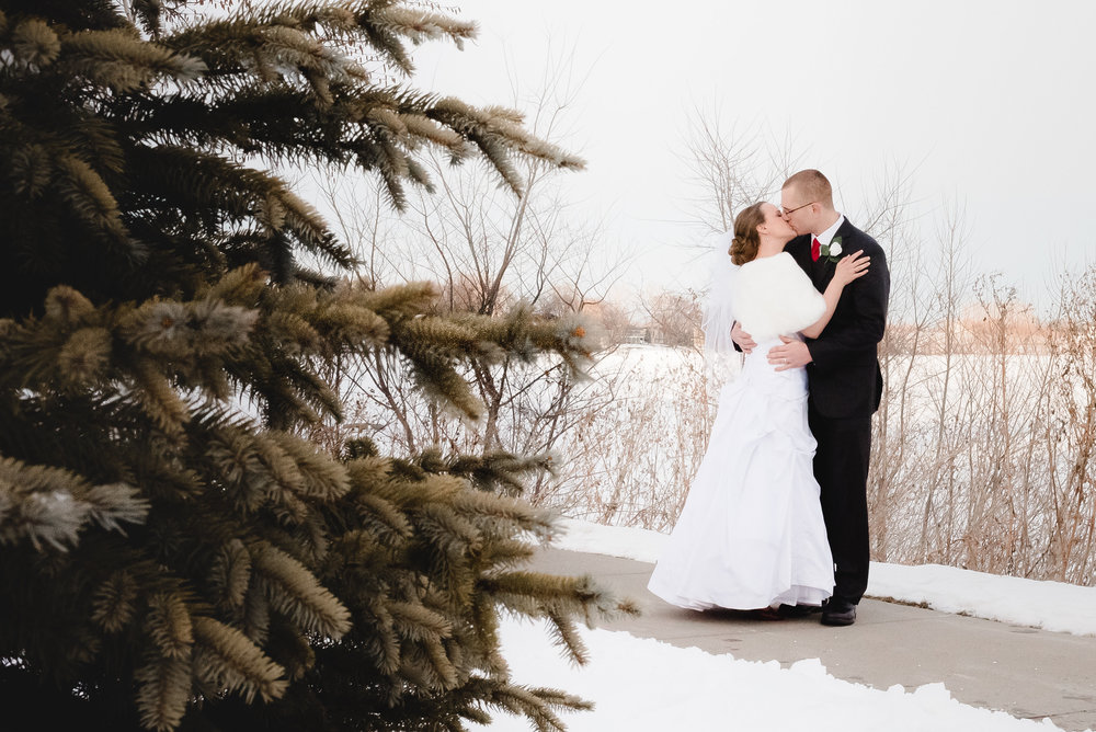 Bride and Groom Winter Wedding Portraits at Winsted Lake - Winsted, MN Wedding Photographer