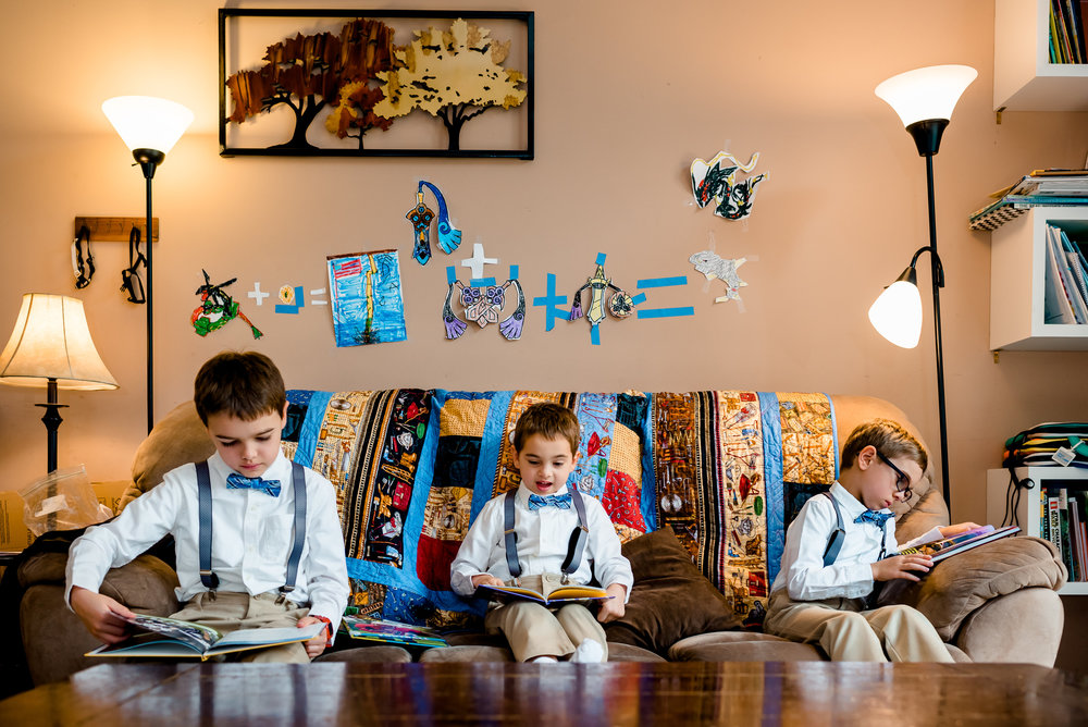 Photojournalism Wedding Photographer - Laura Robinson Photography - Twin Cities Wedding and Lifestyle Photographer - Little boys on couch in bow ties