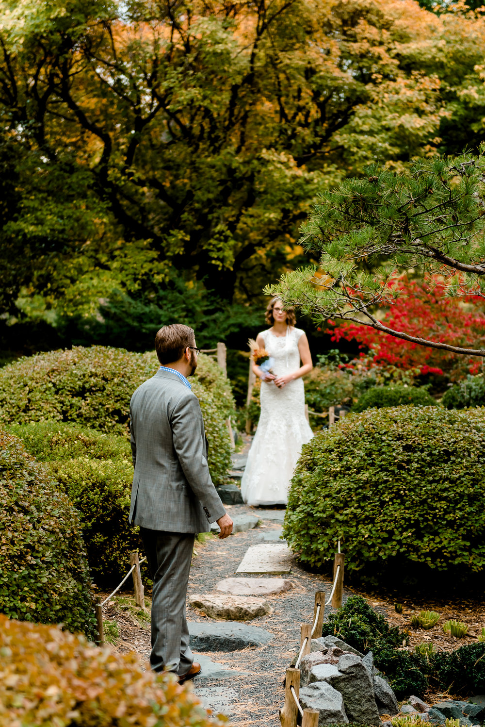 Wedding at MN Landscape Arboretum - First Look with Bride and Groom in Japanese Gardens - Minnesota Wedding Photographer