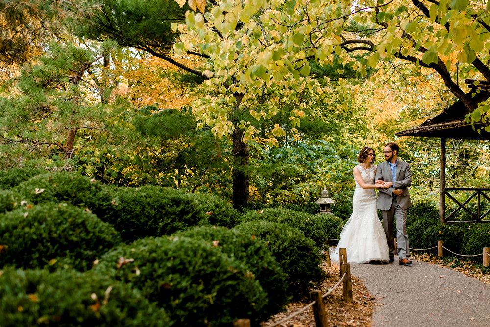 Minnesota Landscape Arboretum Wedding - Japanese Gardens Fall Autumn Portraits - Chaska, MN Wedding Photographer