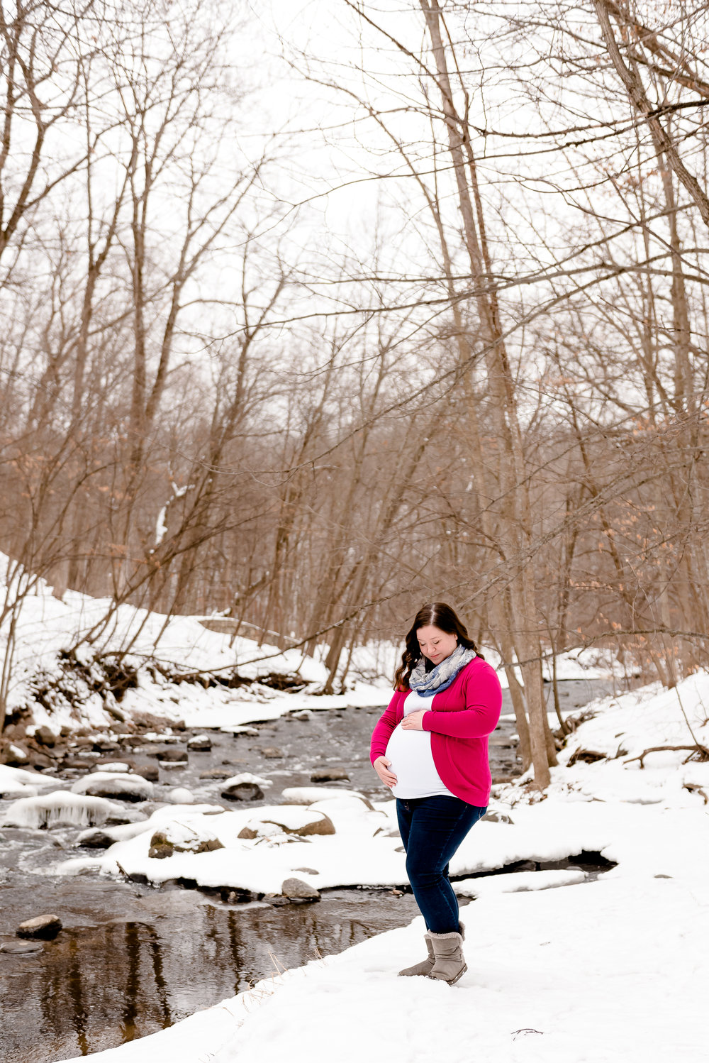 Snow Winter Maternity Portraits Outdoors - Twin Cities Maternity and Family Photographer