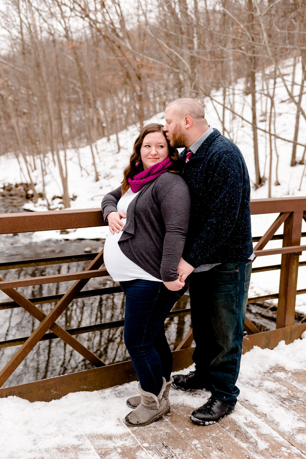 Maternity Photos on a Bridge - Nine Mile Creek Park Maternity Photography Session