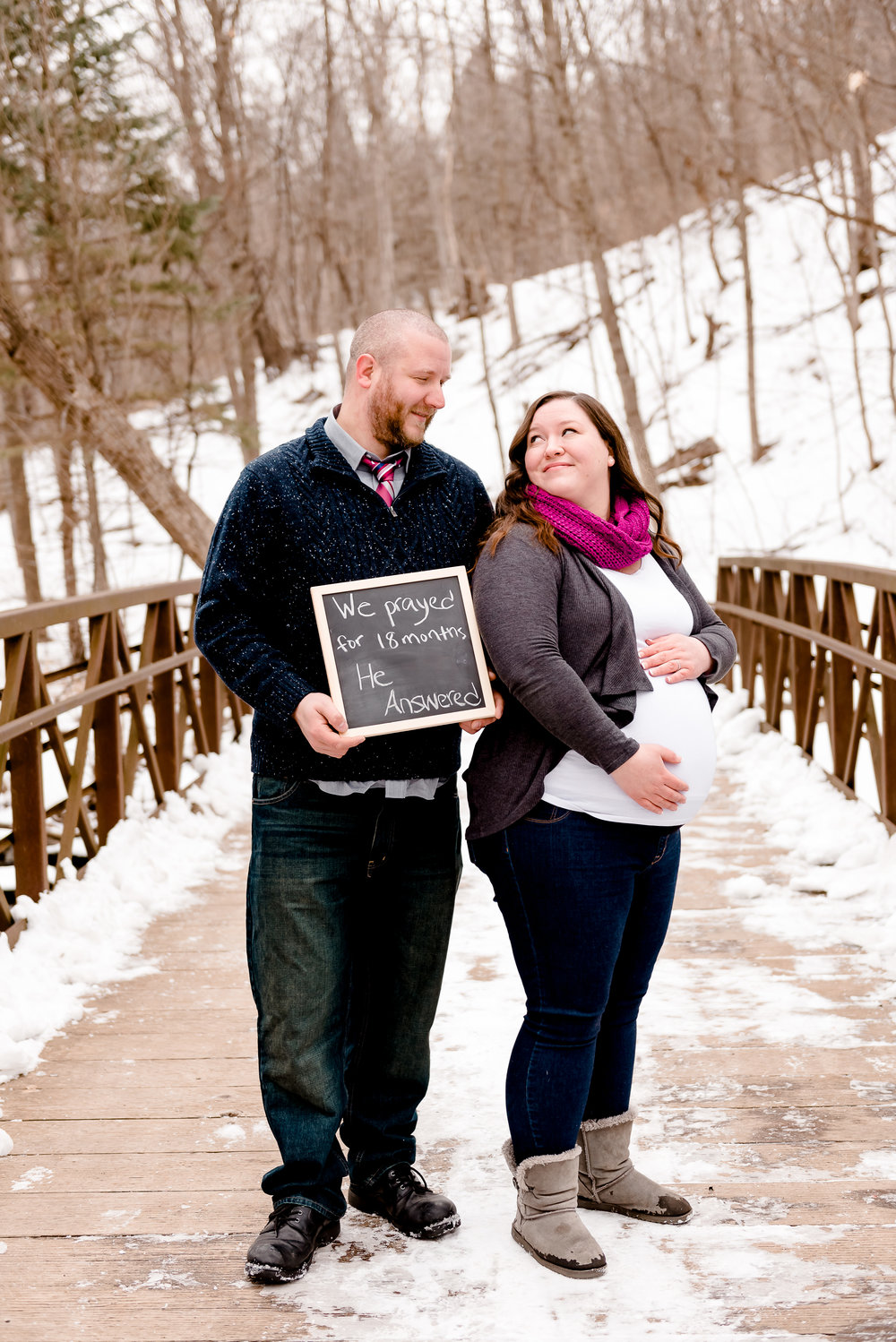 We prayed He answered maternity photo ideas - winter pregnancy photos by Laura Robinson Photography