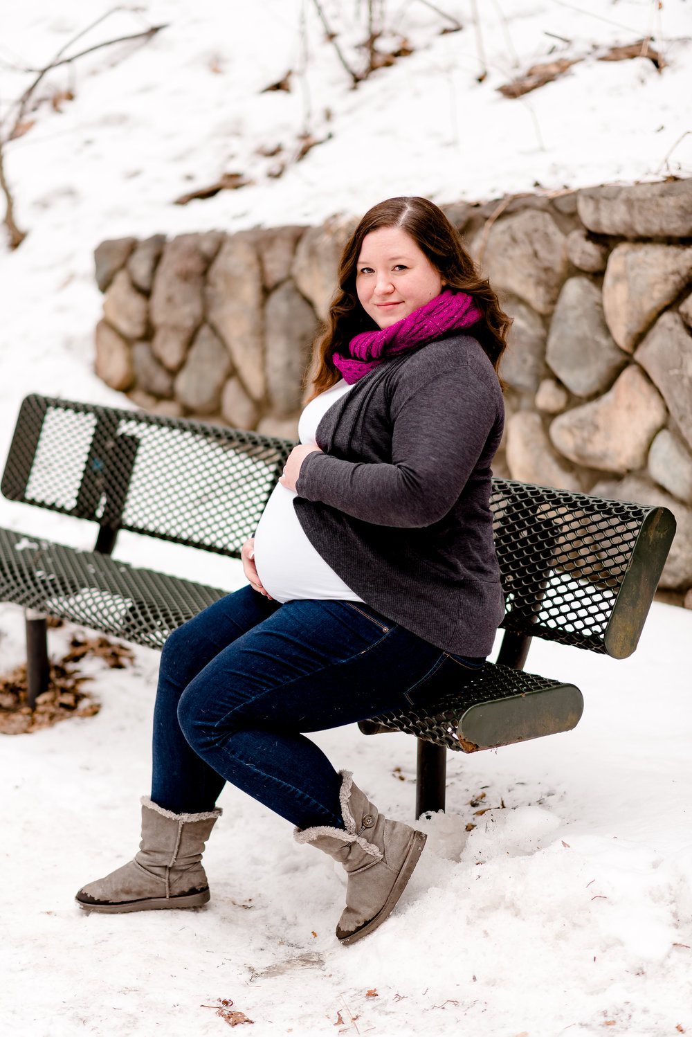 Pregnant Mama on Park Bench - Winter Maternity Photography Session in Twin Cities