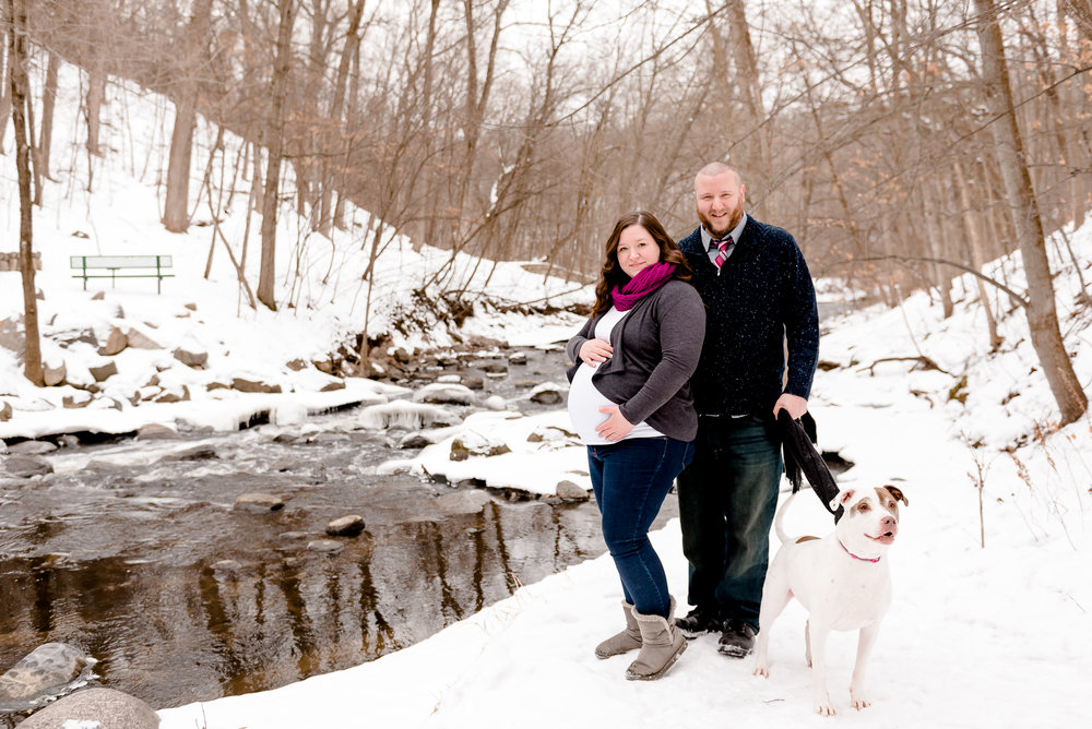 Winter Maternity Session with Dog at Nine Mile Creek - Bloomington MN Maternity Photographer