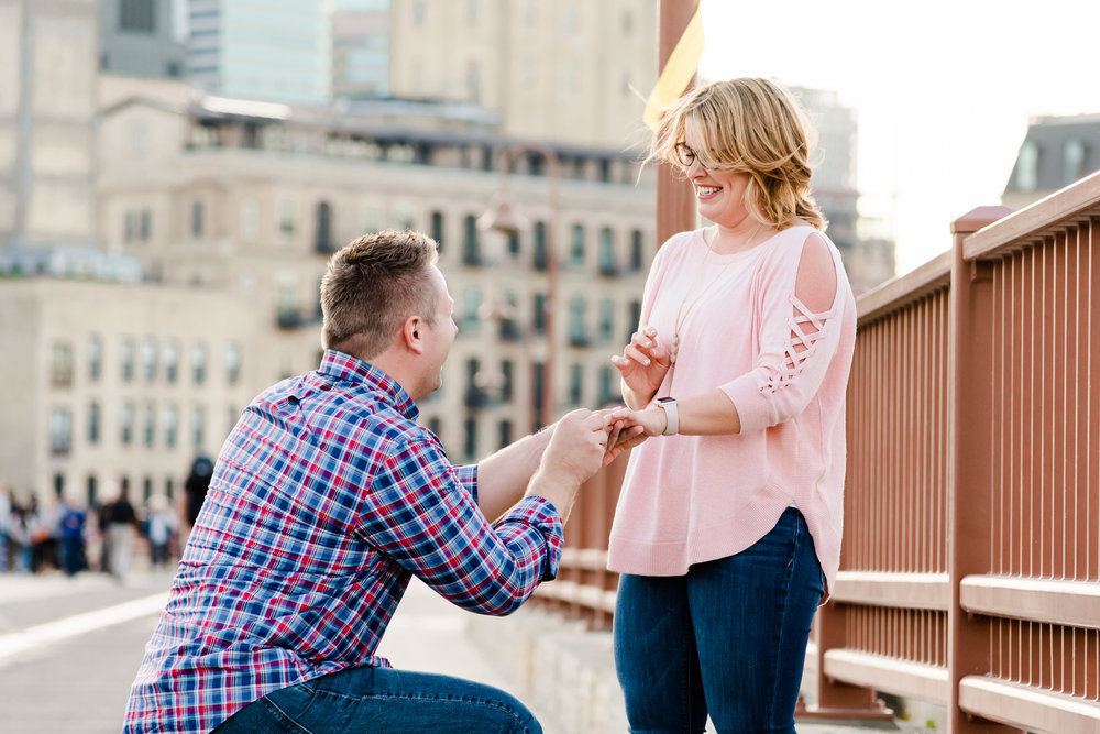 Best Place to Propose Minneapolis - Stone Arch Bridge - Twin Cities Proposal Photographer