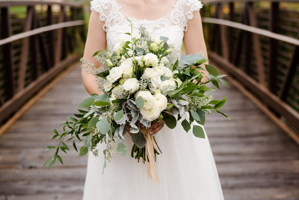 Elm Creek Chalet Wedding Bride with Flower Bouquet