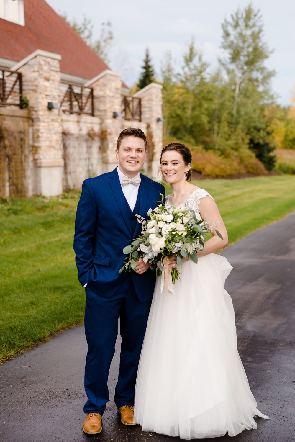 Elm Creek Chalet Wedding - Bride and Groom - Maple Grove Wedding Venue