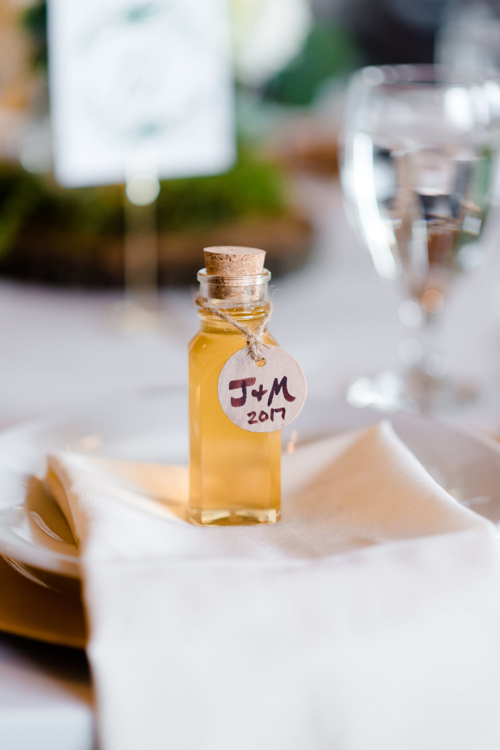 Honey Bottle Guest Wedding Favor at Elm Creek Chalet Wedding