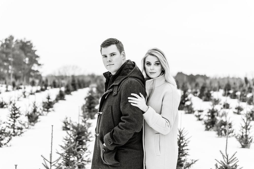 Justin and Mandy - Winter Engagement at Hansen Tree Farm BW-16.jpg