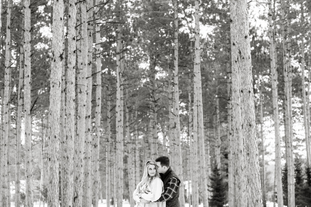 Justin and Mandy - Winter Engagement at Hansen Tree Farm BW-71.jpg
