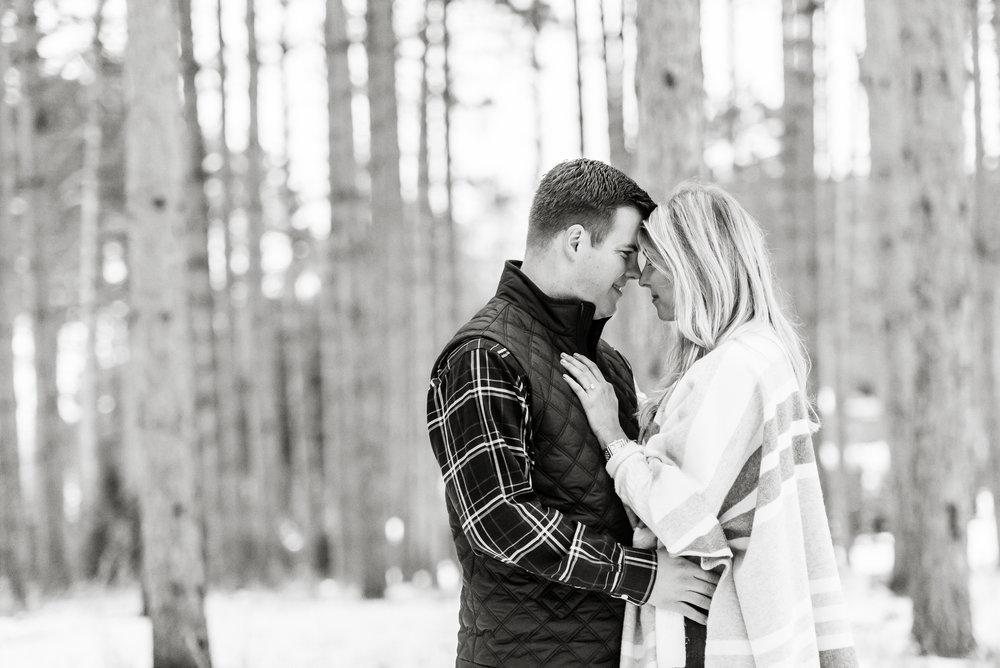 Justin and Mandy - Winter Engagement at Hansen Tree Farm BW-84.jpg