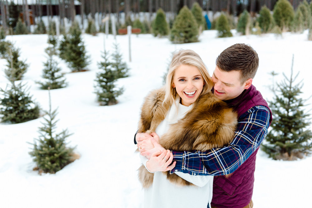 Mandy + Justin | Winter Engagement Session at Hansen Tree Farm