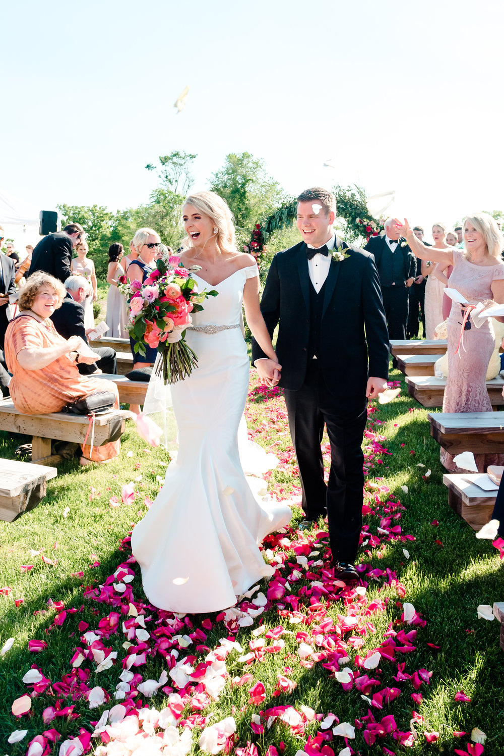 Historic John P Furber Farm Wedding Ceremony Recessional with Rose Petal Toss - Best Wedding Photographers in MN