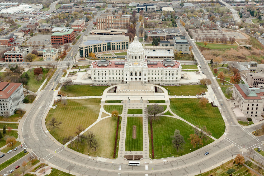 Aerial View of Minnesota State Capitol in St. Paul MN - MN Surprise Proposal Photographer