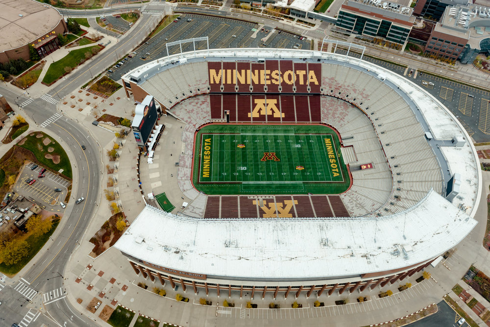 Aerial View of TCF Bank Stadium at University of Minnesota - Helicopter Proposal Photographer MN