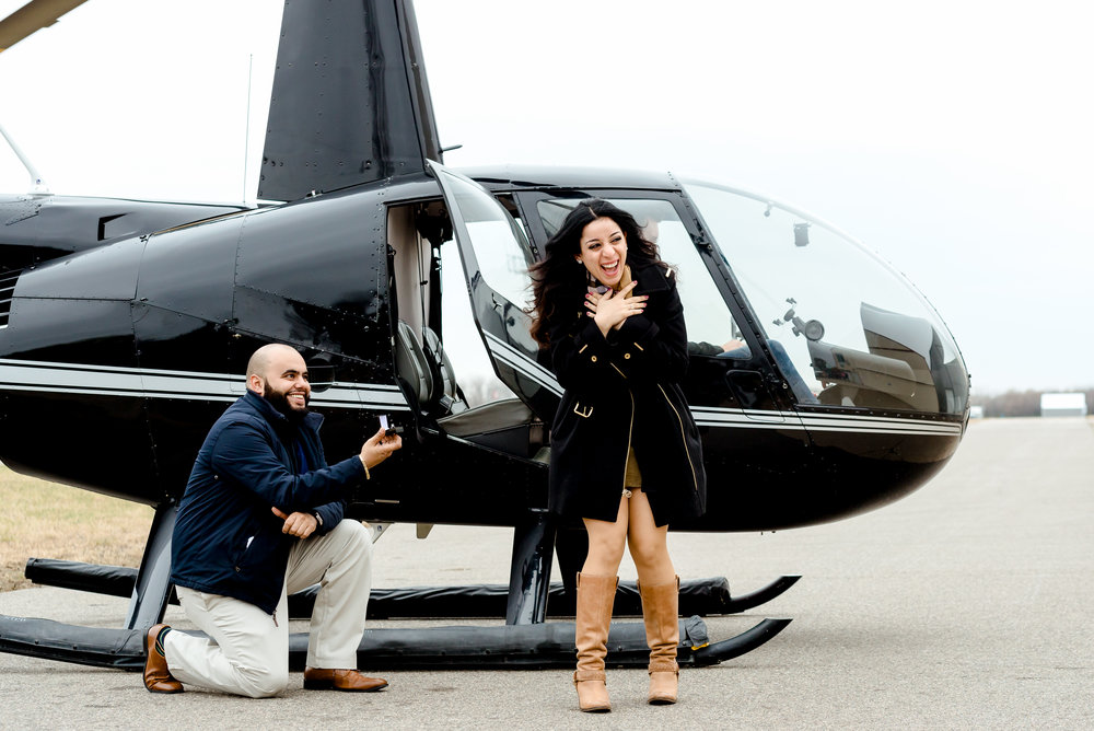 Best Places to Propose in MN - Minnesota Helicopter Tours at Blaine Airport - Minneapolis Proposal Photographer MN