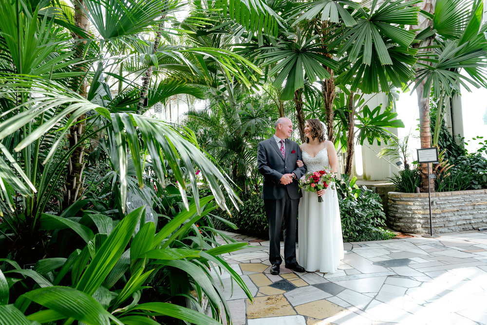 Bride and Father Before Wedding Ceremony at Como Conservatory Sunken Gardens Wedding - MN Best Wedding Photographer