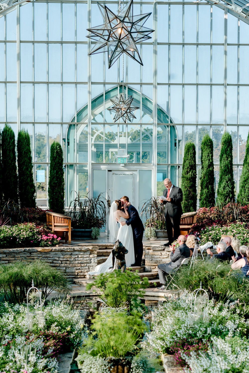 First Kiss at Morning Wedding Ceremony in Sunken Gardens at Como Conservatory Wedding - St Paul Intimate Wedding Elopement Photographer