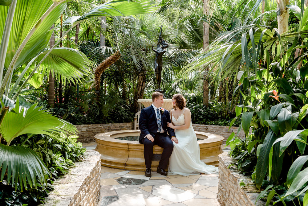 Como Conservatory Elopement Photographer - Bride and Groom in Gardens - St. Paul Elopement Photographer