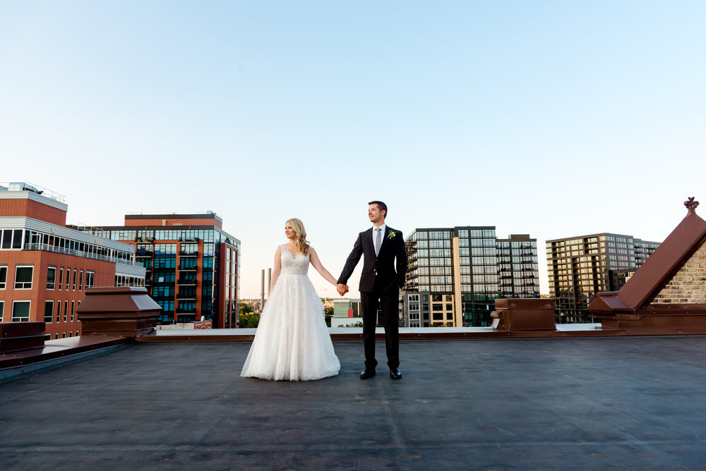 Day Block Event Center Wedding - Bride and Groom on Rooftop at Sunset - Best Minneapolis Wedding Photos