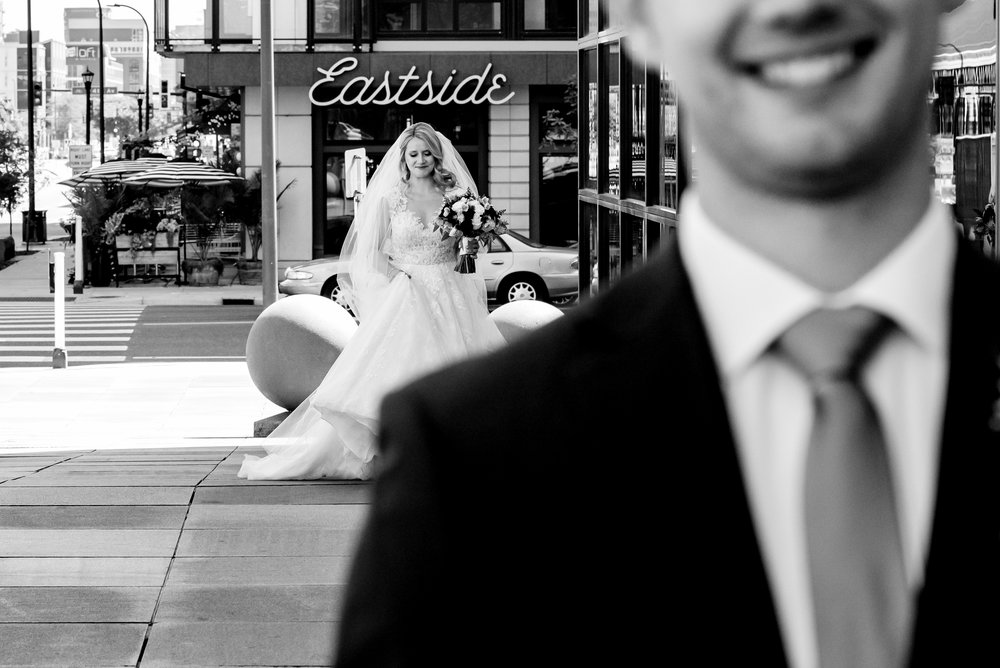 The Depot Hotel Wedding - Bride and Groom First Look Outside - downtown Minneapolis Wedding Photographer