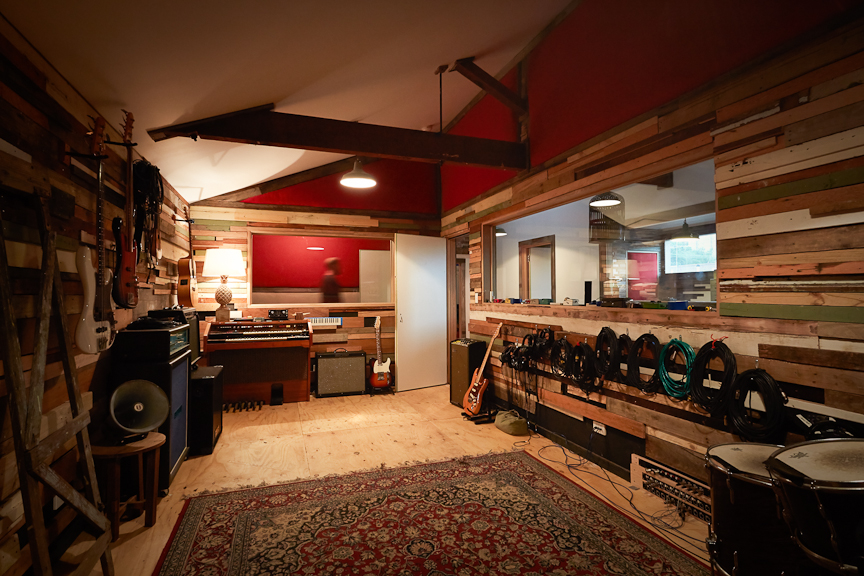 The original live room looking into the vocal booth