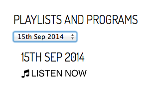 Click through to listen - make sure it's for 15th Sept.