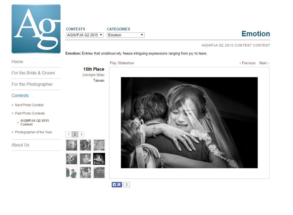 AG  |WPJA 全球藝術婚禮攝影師協會:2015 Q2 15th: Emotion
