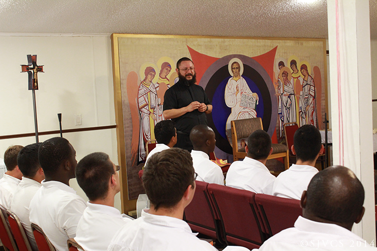 Fr. Jesús Alberto Bohórquez, Pastor of St. Anne's Mission, greets the seminarians