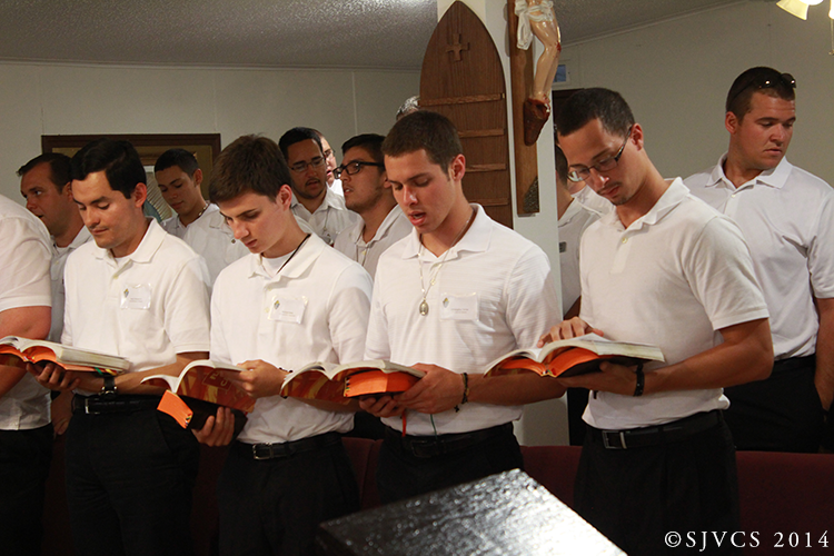 Seminarians pray Evening Prayer at the Mission