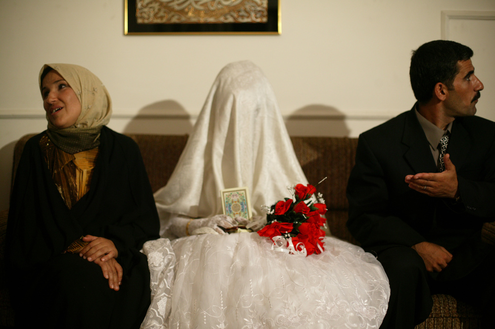 An Iraqi couple on their wedding night.
