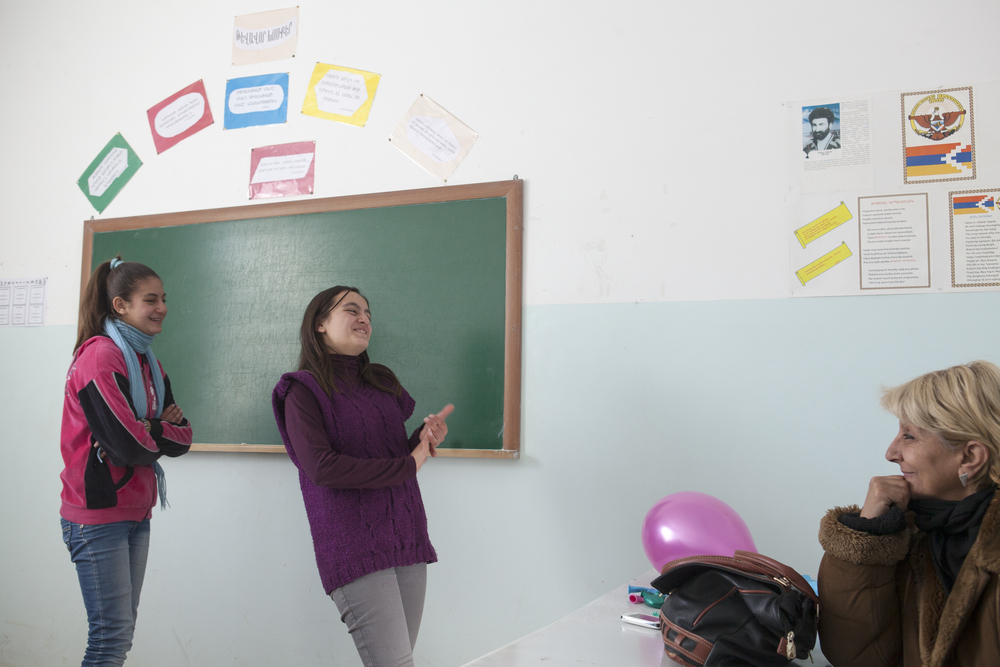 Syrian-Armenian students rehearse for their school play.