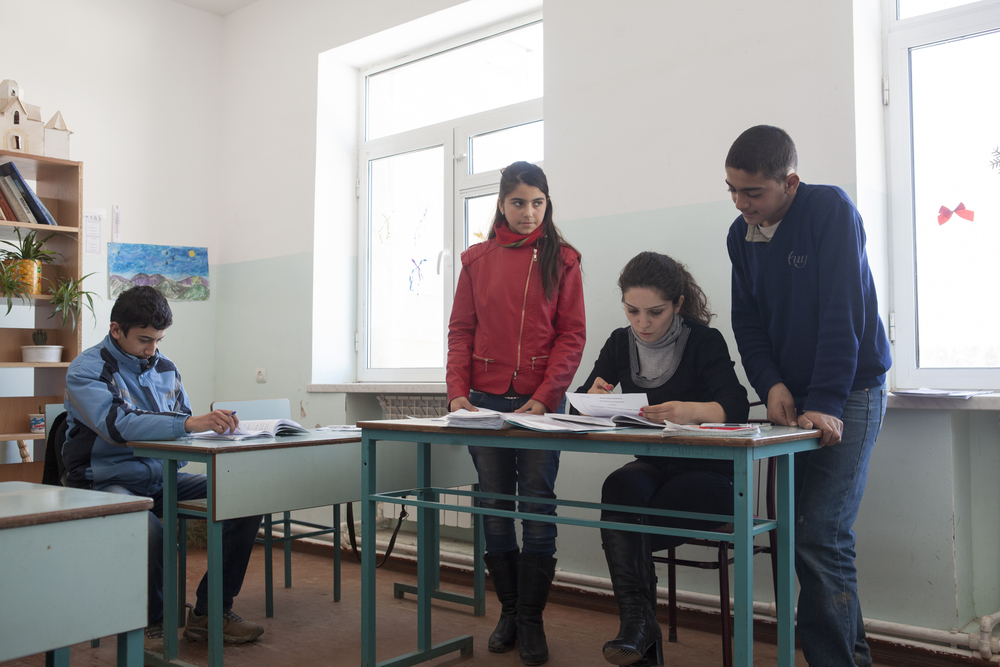 A Syrian-Armenian teenager (dressed in blue) among local classmates in the Kashatagh region of Nagorno-Karabakh.