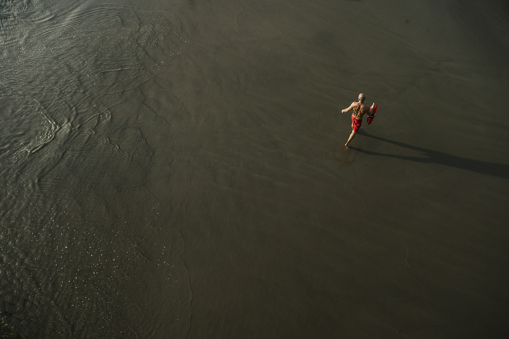 A lifeguard patrols the beaches of Santa Monica.