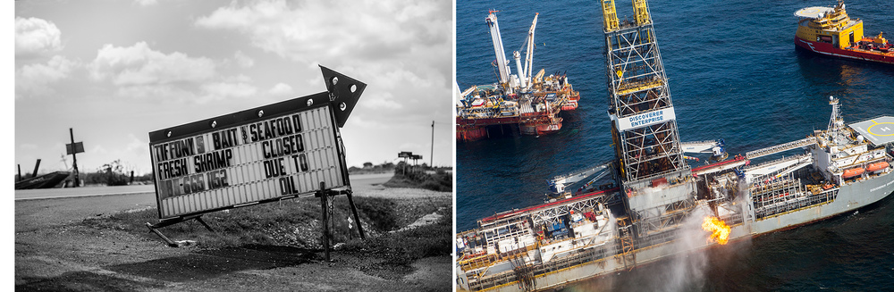 Louisiana, USA  - This series of diptychs cover the Louisiana fishing coastlines of Grand Isle, Port Fourchon and Venice that were severely impacted in April of 2010 by the largest offshore oil spill in U.S. history.