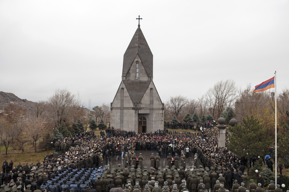 Yerevan, Armenia  - On November 25, 2014 Armenia held funeral services for three of their soldiers killed when Azerbaijan shot down the helicopter they were flying in the disputed territory of Nagorno-Karabakh.