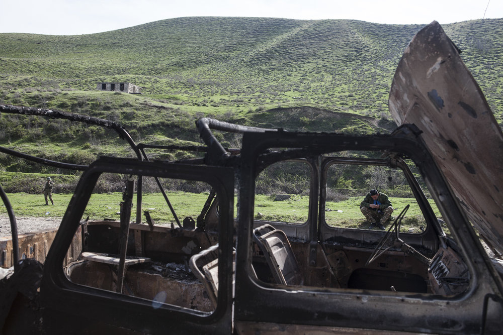 April 5 - a shelled vehicle on a road where a number of Armenian volunteer soldiers were killed the night before.