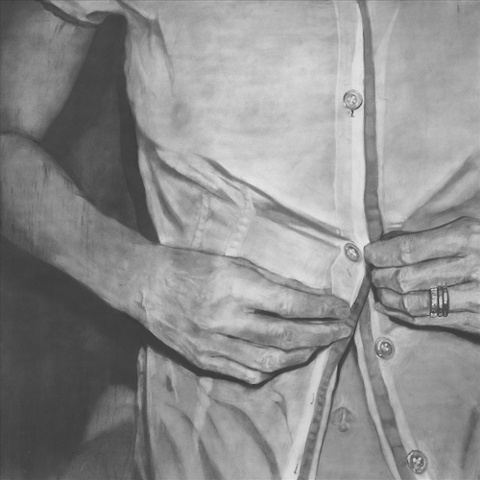 "Untitled (Undone) ,  2006 Charcoal on paper 60"" sq."