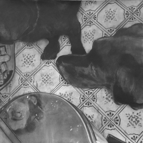 "Untitled (Chow) ,  2005 Charcoal on paper 60"" sq."