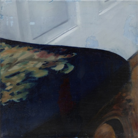 "Untitled (Exit) ,  2004 Encaustic on panel 8.5"" sq (16"" sq. framed)   private collection, Wilmington, DE"